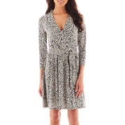 Liz Claiborne® Long-Sleeve Faux-Wrap Dress - Petite