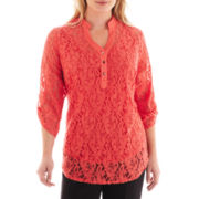 Alyx® 3/4-Sleeve Lace Button-Front Shirt - Plus