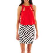 Bisou Bisou® Sleeveless Halter Blouson Dress