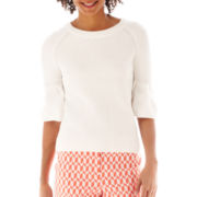 Worthington® Puff-Sleeve Striped Sweater