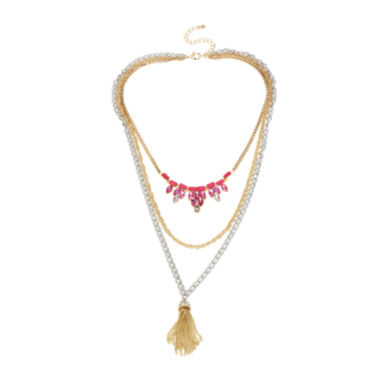 jcpenney.com | Mixit™ Pink Stone and Tassel Two-Tone 3-Row Necklace