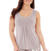 Ambrielle® Embroidered Sleep Tank Top - Plus