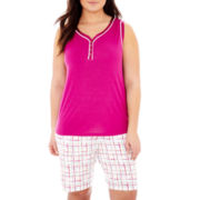 Liz Claiborne® Tank Top and Bermuda Shorts - Plus