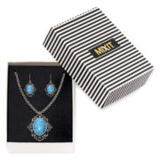 Mixit™ Aqua and Marcasite Stone Pendant Necklace and Earring Set