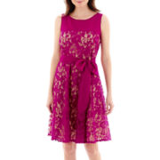 Danny & Nicole® Sleeveless Sash-Tie Lace Dress
