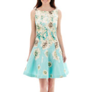 Danny & Nicole® Sleeveless Floral Print Shantung Seamed Fit-and-Flare Dress