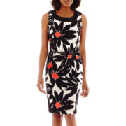 Ronni Nicole Sleeveless Floral Belted Sheath Dress