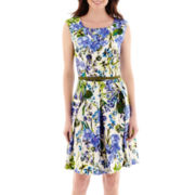 Danny & Nicole® Sleeveless Floral Print Belted Fit-and-Flare Dress