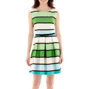 Danny & Nicole® Sleeveless Belted Striped Dress