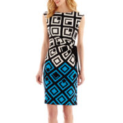 R&K Originals® Cap-Sleeve Diamond Print Shift Dress