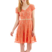 Danny & Nicole® Short-Sleeve Belted Lace Fit-and-Flare Dress - Petite
