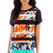 Liz Claiborne® Short-Sleeve Tropical Print Striped Blouse - Tall