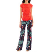 Liz Claiborne® Floral Mesh Sweater or Tropical Print Soft Pants - Tall