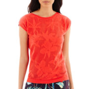 Liz Claiborne® Short-Sleeve Flower Mesh Sweater - Tall