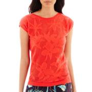 Liz Claiborne® Short-Sleeve Flower Mesh Sweater - Tall