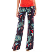 Liz Claiborne® Tropical Print Soft Pallazo Pants - Tall