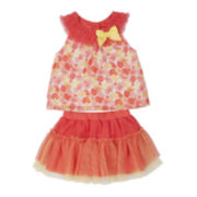 Little Lass Coral 2-pc. Skirt Set - Baby Girls 3m-24m