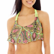 Arizona Print Macramé-Back Flounce Swim Top - Juniors