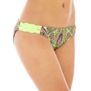 Arizona Print Macramé Side-Tab Hipster Swim Bottoms - Juniors