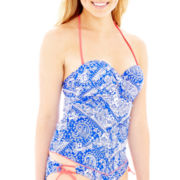 Arizona Paisley Print Handkerchief Tankini Swim Top - Juniors
