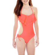 Arizona Laser-Cut Flounce 1-pc. Monokini Swimsuit - Juniors