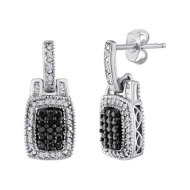 jcpenney.com | 3/8 CT. T.W. White and Color-Enhanced Black Diamond Frame Earrings