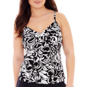 Jamaica Bay® Diagonal Ruffled Tankini Swim Top - Plus