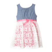 Pinky Chambray and Lace Dress - Toddler Girls 2t-4t