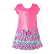 Pinky Zebra-Print Dress – Preschool Girls 4-6x