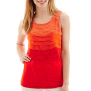 Worthington® Mesh-Trim Tiered Tank Top - Petite