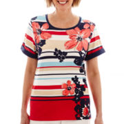 Alfred Dunner® American Dream Asymmetric Short-Sleeve Floral Striped Top