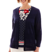 Alfred Dunner® American Dream 3/4-Sleeve Mixed-Stitch Cardigan Sweater