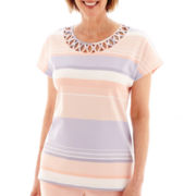 Alfred Dunner® Sunrise Point Short-Sleeve Lattice Striped Top