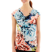 Worthington® Ruched Shoulder Zip Cowl Tee - Tall