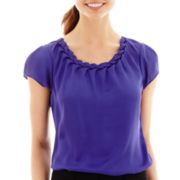 Worthington® Short-Sleeve Braid-Neck Blouse