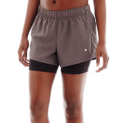 Xersion™ Perforated-Mesh Side Panel Layered Shorts