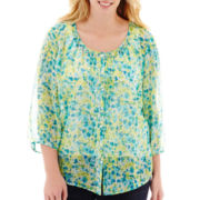 St. John's Bay® ¾-Sleeve Pintuck Peasant Top - Plus