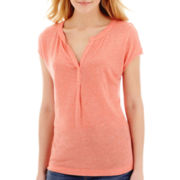 Stylus™ Short-Sleeve Split-Neck Henley T-Shirt