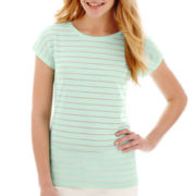 Stylus™ Short-Sleeve Eyelet Striped T-Shirt