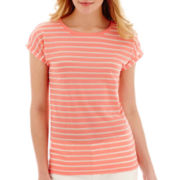 Stylus™ Short-Sleeve Eyelet Striped T-Shirt