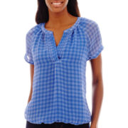 St. John's Bay® Short-Sleeve V-Neck Peasant Top