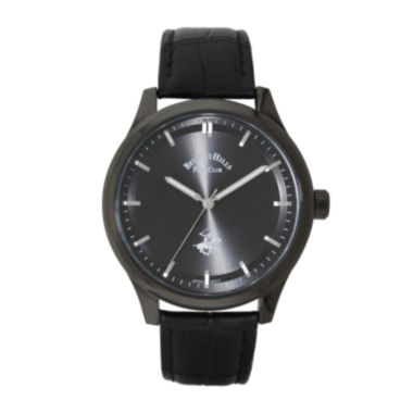 jcpenney.com | Beverly Hills Polo Club Mens Gunmetal Dial And Black Leather Strap Watch