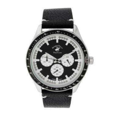 jcpenney.com | Beverly Hills Polo Club Mens Three Eye Black Leather Strap Watch