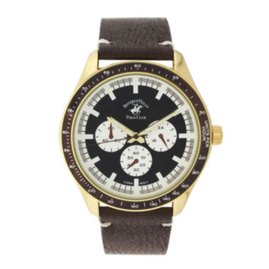 jcpenney.com | Beverly Hills Polo Club Mens Three Eye Brown Leather Strap Watch
