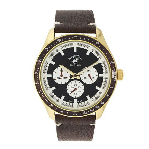 Beverly Hills Polo Club Mens Three Eye Brown Leather Strap Watch
