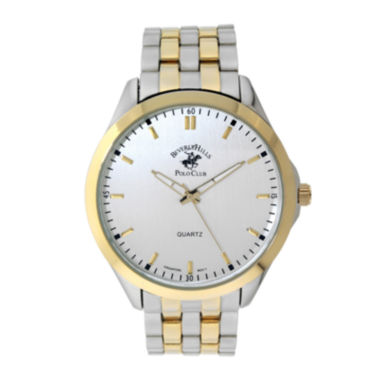 jcpenney.com | Beverly Hills Polo Club Mens Two-Tone Metal Link Watch