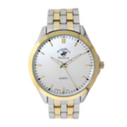 Beverly Hills Polo Club Mens Two-Tone Metal Link Watch