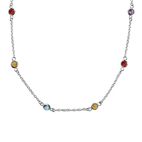 Silver Reflections™ Multi-Color Cubic Zirconia Sterling Silver Necklace