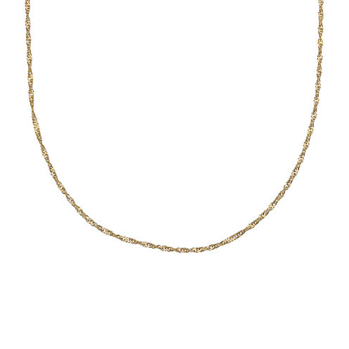 """Gold Over Sterling Silver 20"""" Singapore Chain"""