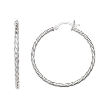 jcpenney.com | Sterling Silver Rope Click-Top Hoop Earrings
